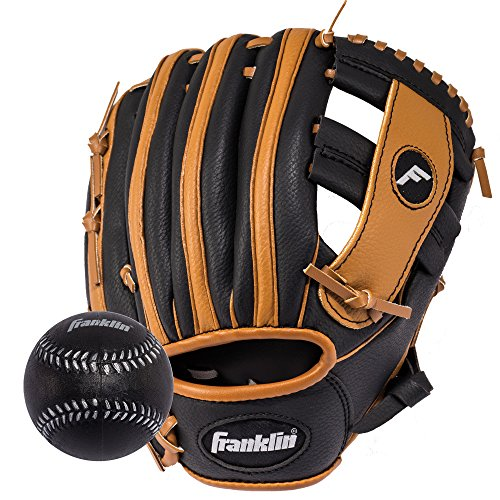 Franklin Sports  RTP Teeball Performance Gloves & Ball Combo, Black/Tan, 9.5, Right Hand Throw