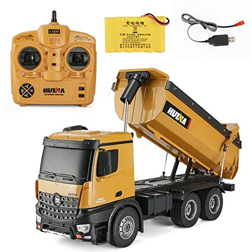 10 Channel 2.4Ghz Remote Control 1:14 Die Cast Loader Dumper Construction Truck with Lights & Sounds, Truck Hopper Can Lift Up and Down