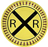 """Railroad Train Party Plate (9"""" Round Plates, 8 Pack) Railroad Train Transportation Party Collection by Havercamp"""