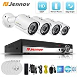 POE Security Camera System, Jennov 4 Channel 1080P PoE Security System Cctv Home Surveillance Outdoor IP Cameras Night Vision Power Over Ethernet, Motion Detection(No Hard Drive)