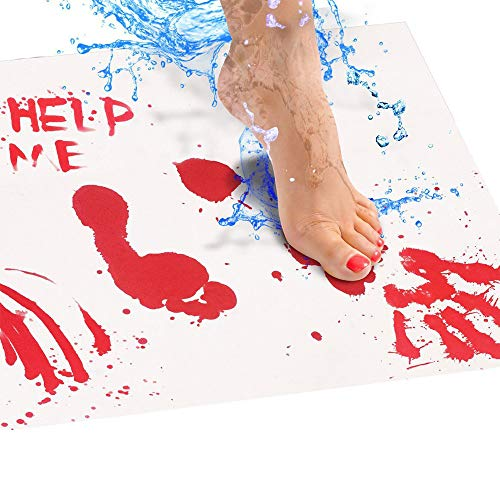 Home Decoration - Bloody Bath Mat Color Changing Sheet Turns Red Wet Make You Bleeding Footprints Bathroom Carpet Rug Home Decoration Accessories