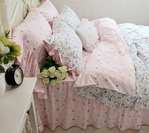 SIBAIER 布団カバーセット/ベッドカバーセット/寝具カバーセット クイーン ラッフルフリルレース オーダー可能 綿100% 可愛い活性染色工芸 田園風景 四季適用 (ベッドカバー/掛布団カバー/布団カバー、ベッドスカート、枕カバーを含む)(ピンクのベッドスカート) B078SFN9B2 クイーン|ピンクのベッドスカート ピンクのベッドスカート クイーン