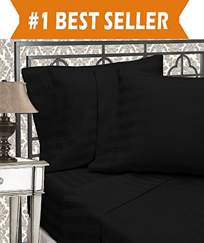 Elegant Comfort Best, Softest, Coziest Sets-1500 Thread Count Egyptian Quality Luxurious Wrinkle Resistant 6-Piece Damask Stripe Bed Sheet Set, Queen, Black