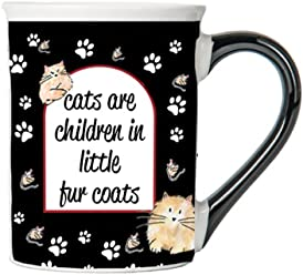 Cats Are Children In Little Fur Coats Mug, Cat Lover Coffee Cup, Ceramic Cat Lover Mug, Cat Lover Gifts By Tumbleweed