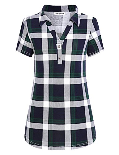 Cute Plaid Shirts (Becanbe Casual Shirt Women, Ladies Plaid Short Sleeve Daily Wear Regular Button Down Tops Cute Elegant Lightweight Clothes Soft Tunic Polo Blouses(Blue,XX-Large))