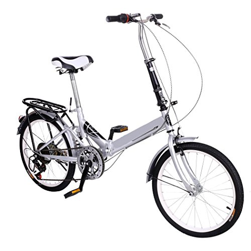 "20"" Folding Commute City Bike 6 Speed Shimano Gear Steel Frame Double Disk Break Silver [US STOCK]"