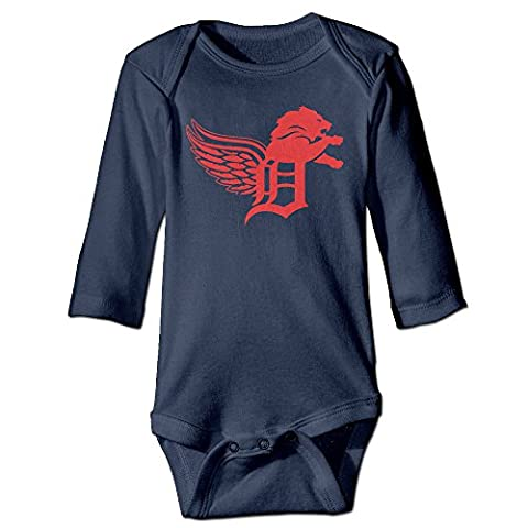 ElishaJ Detroit Sports Logo Mixed Babys Long Sleeve Jumpsuit Outfits Navy Size 12 Months - Infant One Piece Cheerleader Dress