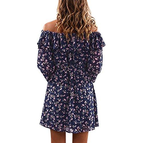Damen Kleid Longra Frauen Chiffon Blumendruck Kleid weg vom Schulter ...