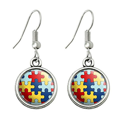 sm Awareness Diversity Puzzle Pieces Novelty Dangling Drop Charm Earrings ()
