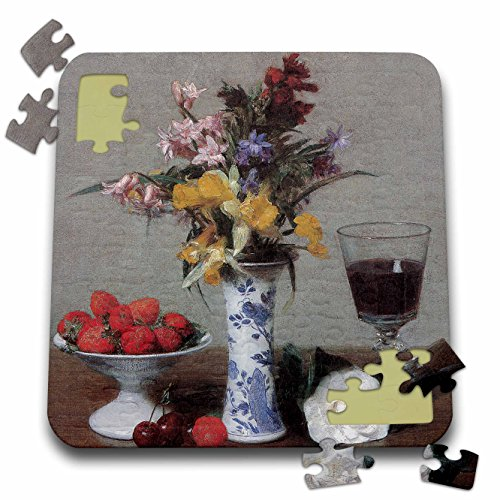 3dRose BLN Flower Paintings Fine Art Collection - The Betrothal Still Life by Henri Fantin-Latour Still Life - 10x10 Inch Puzzle (pzl_126459_2)
