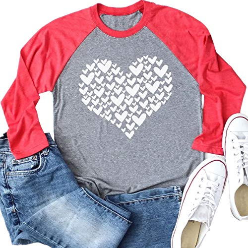Beopjesk Womens Love Heart Raglans T-Shirts Casual Long Sleeve Valentine's Day Graphic Tees Tops ()
