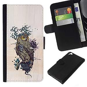 NEECELL GIFT forCITY // Billetera de cuero Caso Cubierta de protección Carcasa / Leather Wallet Case for HTC Desire 820 // Dibujo Patrón Búho