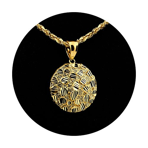 LoveBling 10K Yellow Gold Round Nugget Charm Pendant (1.11