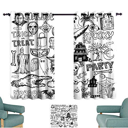 Mannwarehouse Vintage Halloween Durable Curtain Hand Drawn Halloween Doodle Trick or Treat Party Severed Hand Design for Living, Dining, Bedroom (Pair) 55