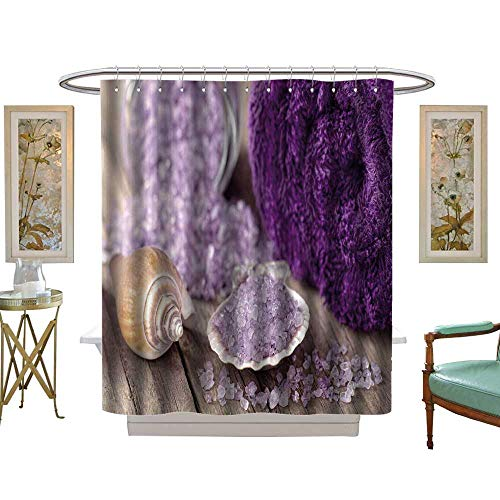 luvoluxhome Shower Curtains Digital Printing Spa Still Life with Salt and Mussel Shell W48 x L72 Bathroom - Tennessee Titans Salt