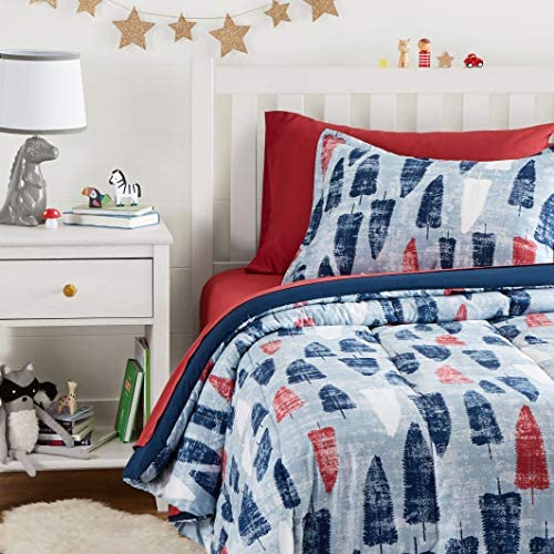 Amazon Basics Easy Care Super Soft Microfiber Kid's Bed-in-a-Bag Bedding Set – Twin, Red and Blue Feathers