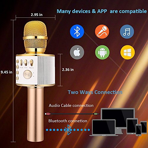 BONAOK Wireless Bluetooth Karaoke Microphone, Easter Gift 3-in-1 Portable Hand microphone Speaker Machine for iPhone/Android/iPad/Sony/PC or All Smartphone(Gold) - Image 1