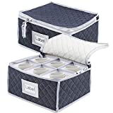 China Cup Storage Chest,Quilted Fabric Container in Perfect Storage Case for Coffee Cups,Tea Cups,Mugs Set of 2 Gray