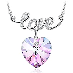 """GEORGE SMITH """"Sweet Love""""Heart Necklace Women Jewelry Wedding Birthday Gifts for Her,Purple Sapphire Crystals from Swarovski"""