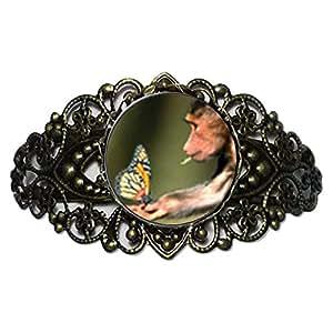 Chicforest Bronze Retro Style Butterfly Monkey Flower Cuff Bracelet