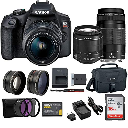 Double Zoom Kit - Canon EOS Rebel T7 EF18-55mm + EF 75-300mm Double Zoom KIT + 64GB Card + Bundle