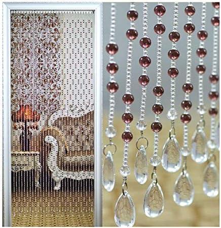 GDMING ビーズカーテン珠のれん 装飾 結晶 ドアカーテン 晴れ 間仕切り ブラインド装飾 ために エントランス 出入り口 廊下 窓カーテンパネル 、32サイズ (Color : Brown, Size : 30 strands 85x180cm)