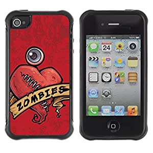 Suave TPU Caso Carcasa de Caucho Funda para Apple Iphone 4 / 4S / Zombie Heart Stiches Red Drawing Art Sign / STRONG