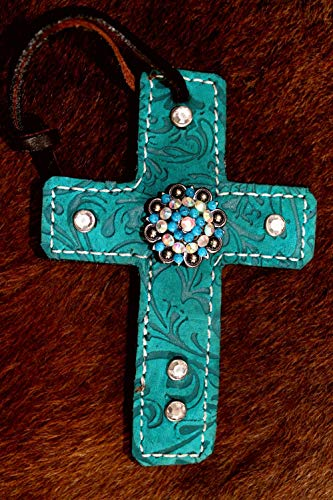 PRORIDER Western Riding Barrel Saddle Leather Cross Tie Tack Rodeo Bling Concho 96S06