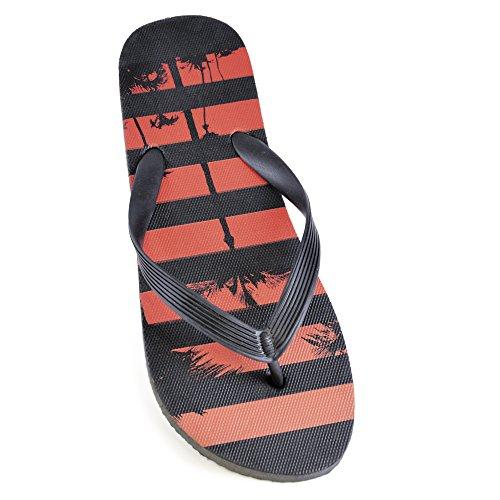 Mens Palm Tree Flip Flops Red/black WuJGE