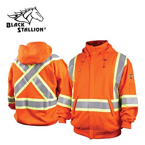 Revco/Black Stallion TruGuard 200 FR Cotton Hooded (Safety Orange) Sweatshirt, Reflectives xl