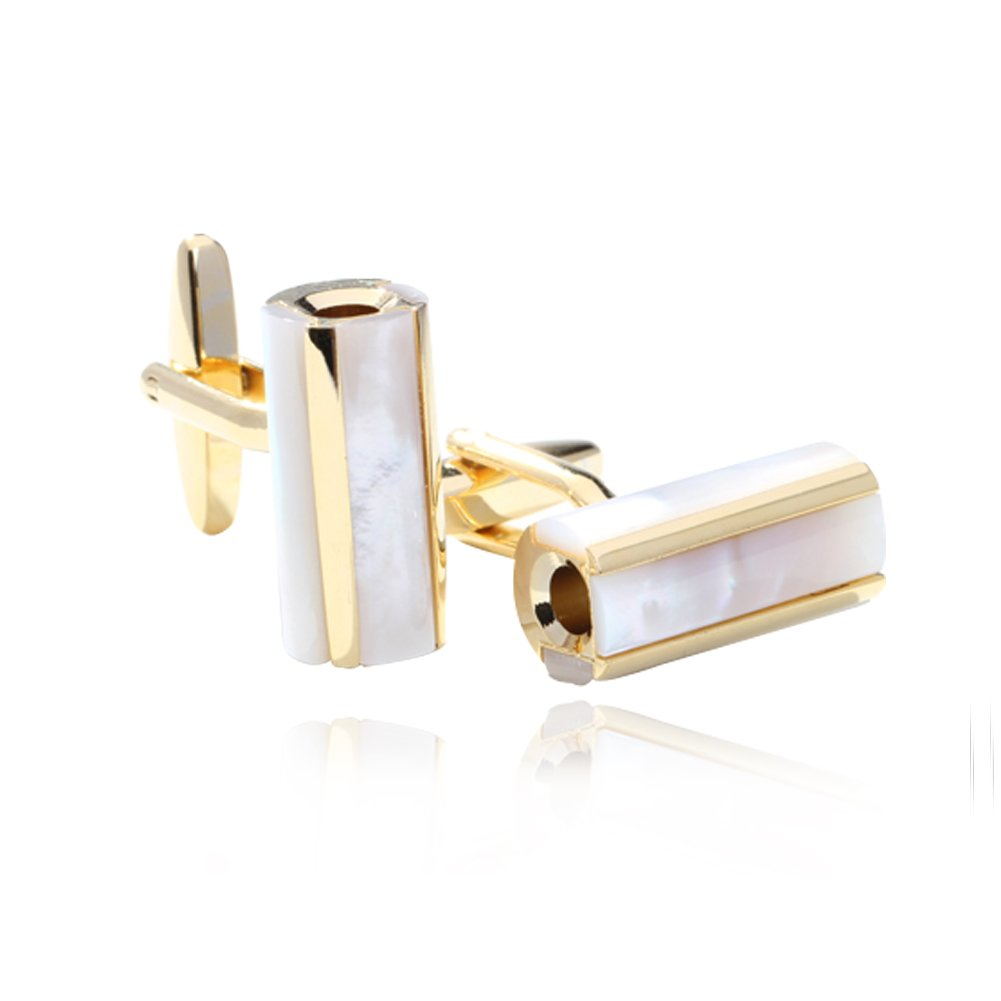 Digabi Men's Jewelry Gold Plated Columnar Mother of Pearl Luxury Cufflinks Cuff White and Gold