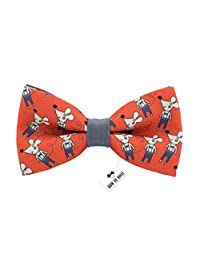 Bow Tie House Grey mouse bow tie red gabardine material unisex pre-tied pattern