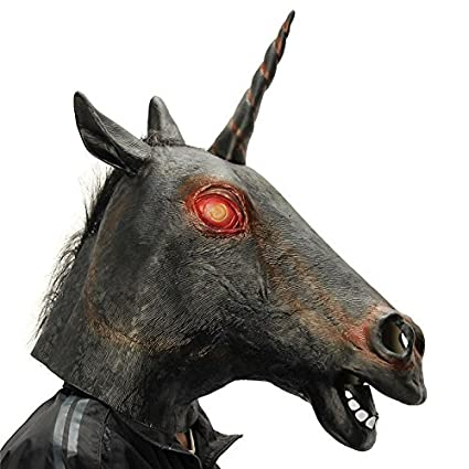Paleo Caballo de látex negro espeluznante mal cosplay traje de máscara de la máscara de caballo