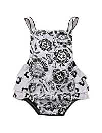 Cute Baby Girl Halter Backless Ruffled Leaf Sunflower Floral Romper Dress Outfits