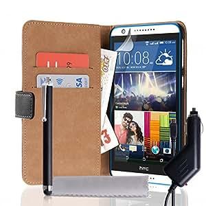 Funda tipo Billetera de Caseflex de piel auténtica con lápiz capacitivo y cargador de coche para HTC Desire 820 - negro