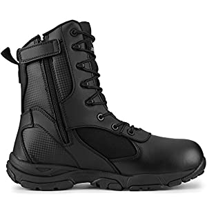 "Maelstrom Men's TAC ATHLON 8"" Black Side Zipper Tactical Work Boots Law Enforcement, Security, Work and Military 
