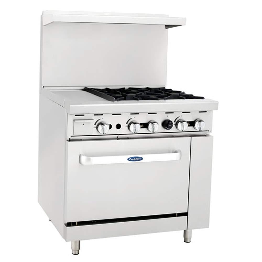 "ATOSA US ATO-12G4B Commercial Restaurant Griddle 4 Burner Hotplates Liquid Propane Range With 12"" Manual Griddle On The Left Standard Gas Oven - 140,000 BTU"