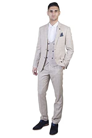 Mens Classic Cream Check Tweed Three Piece Suit with Double Breasted ...