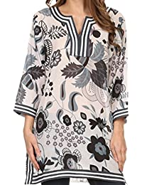Sakkas Abril Long Sleeve Cotton Tunic Blouse Top With Printed Floral Pattern