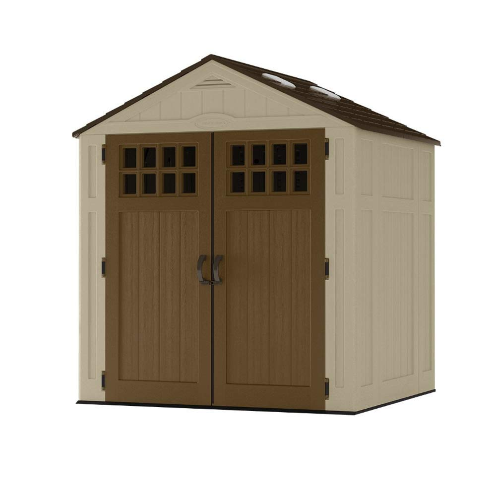 Suncast BMS6510D 6 x 5 Everett Storage Shed with Windows-Natural Wood-Like, 6 by 5