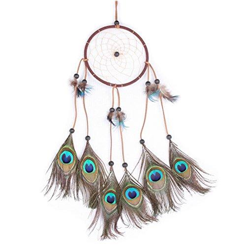 Tinksky Traumfänger mit Federn und Perlen Hanf Seil Wind Chime Wand hängende Dekoration