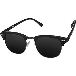 3742c6bf4fd Silver Kartz Gun-Metal Clubmaster Wayfarer Unisex Sunglasses (wy032