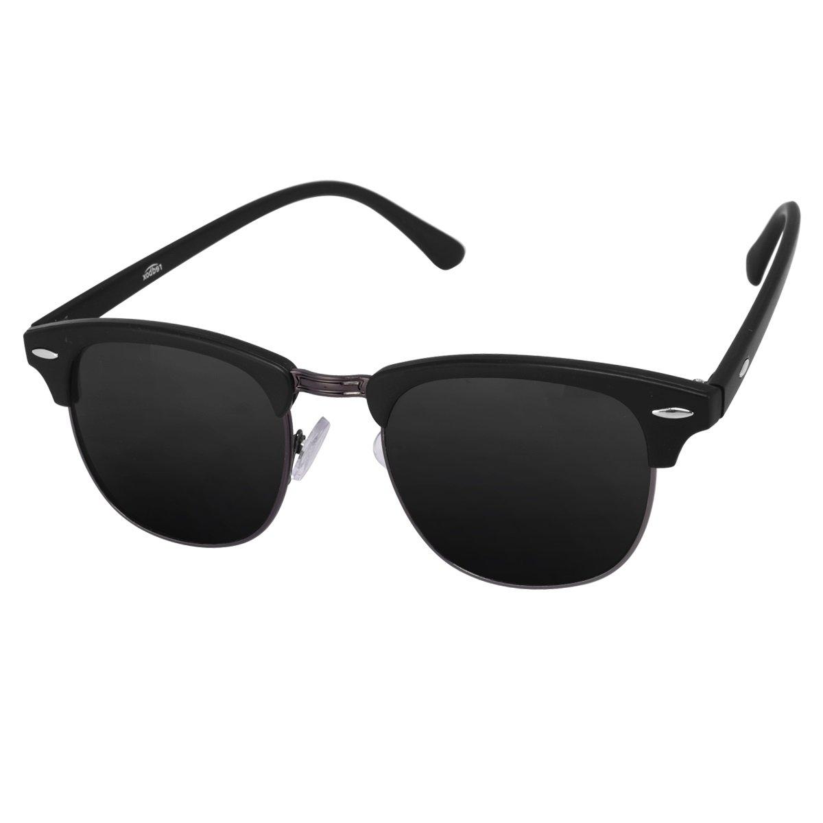 Silver Kartz Gun-Metal Clubmaster Wayfarer Unisex Sunglasses (wy032 40 Black)