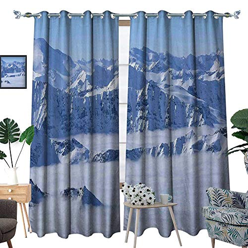 (homehot Mountain Room Darkening Wide Curtains Fantasy Dream Land Over The Austrian Alps Summit Climate Skiing Snowfall Fir Theme Customized Curtains White)