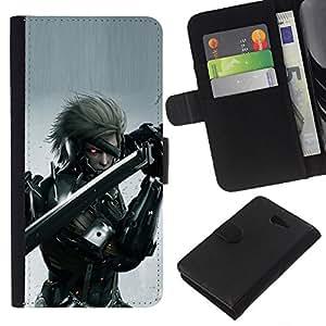 """A-type (Cyebr Guerrero"""") Colorida Impresión Funda Cuero Monedero Caja Bolsa Cubierta Caja Piel Card Slots Para Sony Xperia M2"""