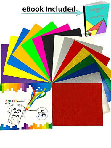 Art Deco Cut Glass (Heat Transfer Vinyl Sheets | Easyweed & Easy to Cut Letters & Numbers With Cricut, Silhouette Cameo | 15 Colors Bundle 12x10