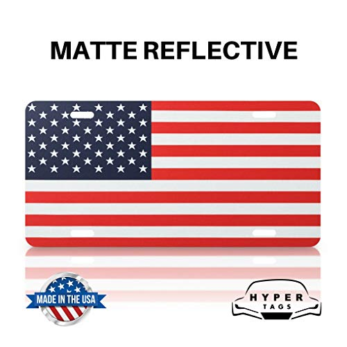 (Hyper Tags Original Reflective American Flag Front License Plate Matte on Heavy Duty Aluminum Tactical Patriot USA Truck Tags 4th of July Independence Day (Red, White,)