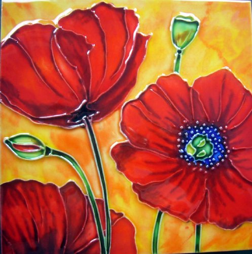 Continental Art Center BD-2181 8 by 8-Inch Three Red Poppy Flowers with Orange Background Ceramic Art Tile