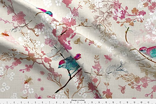 Blossom Fabric - Birds + The Bees (Rose) (Large) - Designed By Nouveau_Bohemian - Fabric Printed By Spoonflower On Satin Fabric By The (Nouveau Blossom)