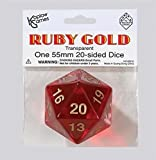 Polyhedral Dice: 20-sided 55mm Ruby Gold by Koplow Games